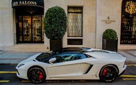 Preview wallpaper Lamborghini Aventador LP700-4 white supercar, house
