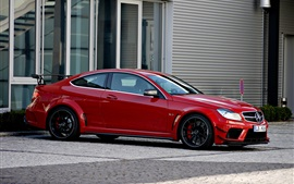 Preview wallpaper Mercedes-Benz C63 AMG Coupe red car side view