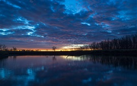 Nature sunrise, quiet, river, water reflection, trees, sky, thick clouds