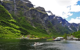 Preview wallpaper Norway, mountains, snow, boats, house, river
