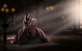 Preview wallpaper Red dress girl, cello, music