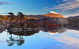 Scotland landscape, lake, sky, clouds, sunset, mountains, snow, trees