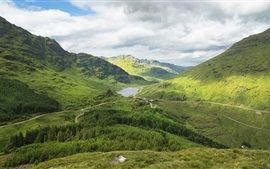 Scotland, mountains, forest, road, lake, green, clouds