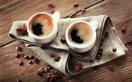 Aperçu fond d'écran Deux tasses de café, haricots