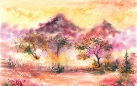 Preview wallpaper Watercolor painting, landscape, trees, birds, leaves, grass