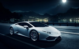 Preview wallpaper White Lamborghini Huracan LP610-4 supercar, night, city