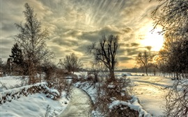 Winter, snow, river, trees, sky, clouds, sunset