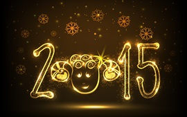 2015 Happy New Year, sheep year, golden