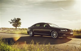 Preview wallpaper Audi A6 car, glare, road