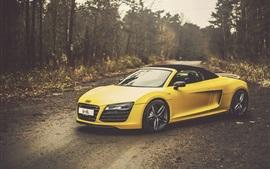Audi R8 V10 Spyder желтый автомобиль