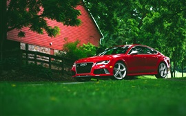 Preview wallpaper Audi RS7 red car front view