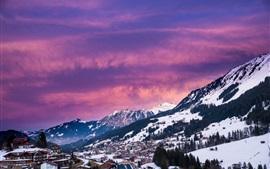 Áustria, montanhas, árvores, casas, inverno, neve, crepúsculo