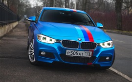 Preview wallpaper BMW 335i blue car front view