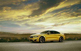 BMW M4 Coupe F82 yellow car side view Wallpapers Pictures Photos Images