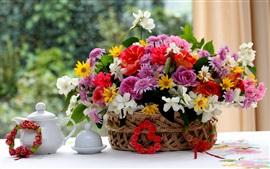 Basket, flowers, geranium, jasmine, rose, chrysanthemum, teapot