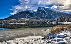 Preview wallpaper Bavaria, Germany, lake, trees, mountains, winter, snow