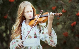 Preview wallpaper Blonde girl, violin, music