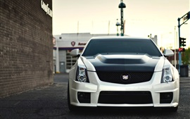 Preview wallpaper Cadillac CTS-V white car front view