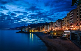 Preview wallpaper Camogli, Italy, Liguria, house, lights, night, coast, sea