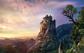 Castillo, rocas, puesta del sol, montañas, árboles, pájaros, crepúsculo