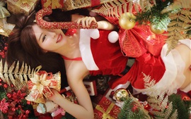 Preview wallpaper Christmas girl, red dress, long hair