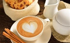 Café, amor, coração, copo, comida, café da manhã