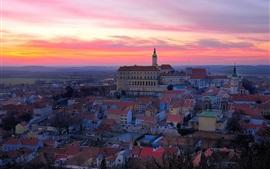 Чехия, город, вечер, закат, дома
