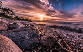 Dinamarca, costa, mar, olas, rocas, puesta del sol