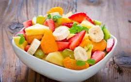 Десерт, фруктовый салат, бананы, мандарины, клубника, ананас, листья мяты