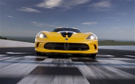 Preview wallpaper Dodge Viper SRT yellow supercar front view