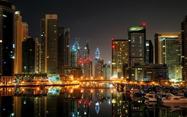 Preview wallpaper Dubai, city, night, port, boats, yachts, lights, buildings