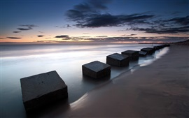 Preview wallpaper England, Blyth, sea, slabs, dusk