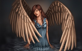 Preview wallpaper Fantasy angel, girl, wings, blue dress, water