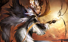 Preview wallpaper Fantasy girl, phoenix, wings