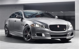 Preview wallpaper Jaguar XJR sedan, silver car