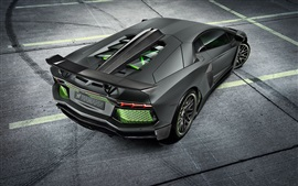 Preview wallpaper Lamborghini Aventador LP700-4 black supercar back view