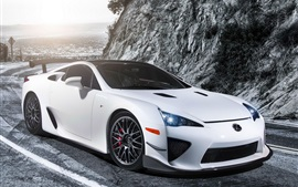 Preview wallpaper Lexus LFA white car, lights, road