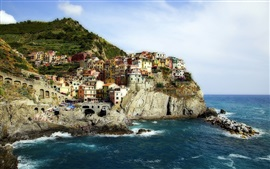 Preview wallpaper Manarola, Cinque Terre, Italy, Ligurian Sea, rocks, houses, coast