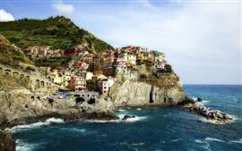 Манарола, Cinque Terre, Италия, Лигурийское море, скалы, дома, побережье