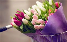 Preview wallpaper Many flowers, bouquet tulips, water drops, bike