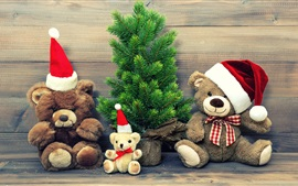 Preview wallpaper Merry Christmas, hat, decoration, teddy bear