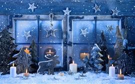 Aperçu fond d'écran Joyeux Noël, fenêtre, flocons de neige, des bougies, hiver, neige