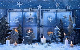 Feliz Natal, janela, flocos de neve, velas, inverno, neve