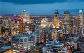 Montreal, Quebec, Canadá, cidade, construções, noite, luzes