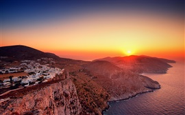 Preview wallpaper Mountains, houses, sunrise, sea, Greece