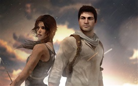 Preview wallpaper Nathan Drake, Uncharted, Tomb Raider, Lara Croft