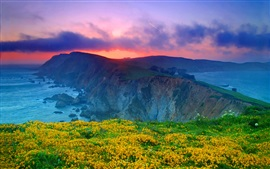 Preview wallpaper Point Reyes National Seashore, California, USA, clouds, sunset, ocean