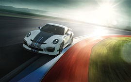 Preview wallpaper Porsche 911 Turbo supercar, sunlight