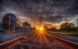 Rail, rails, sleepers, sunset, glare