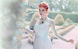 Preview wallpaper Red hair girl, white dress, glare, bokeh
